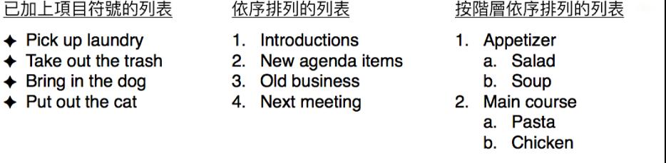 項目符號、排序和階層式列表的範例。