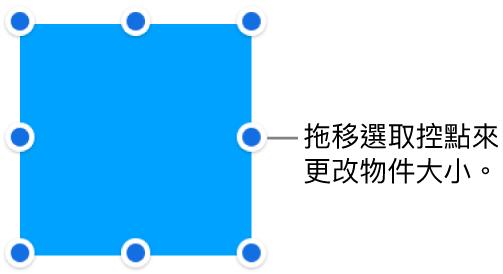 其邊線上帶有藍色圓點的物件,用來更改物件的大小