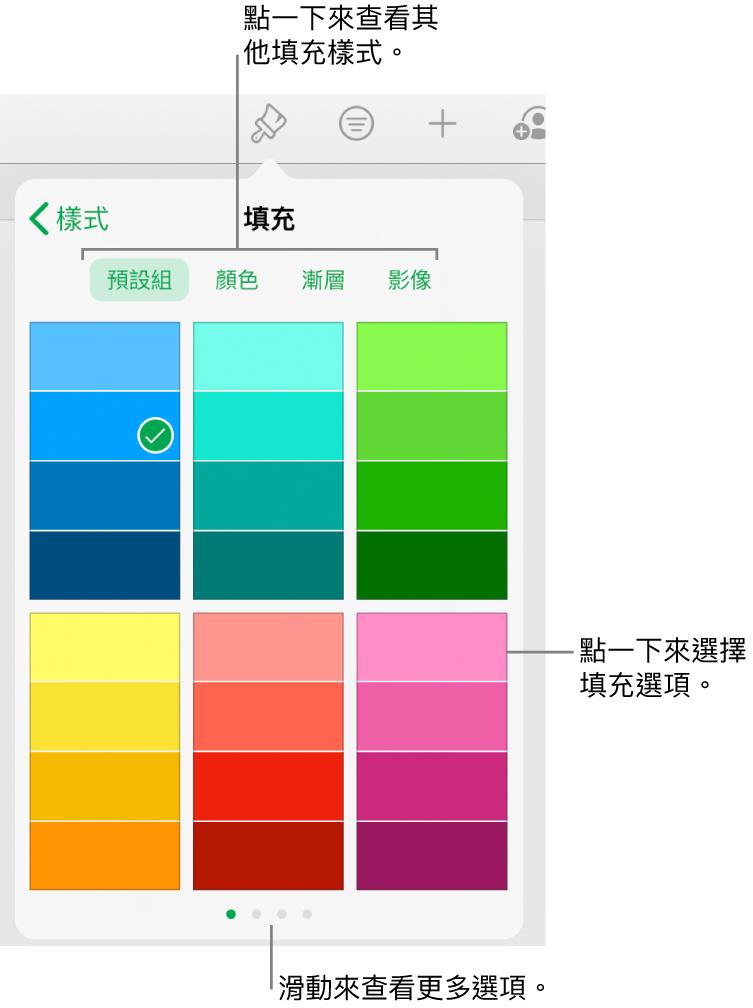 「格式」按鈕其「樣式」標籤頁中的填充選項。