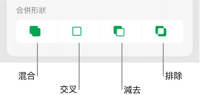 「混合」、「交叉」、「減去」和「排除」按鈕位於「合併形狀」下方。