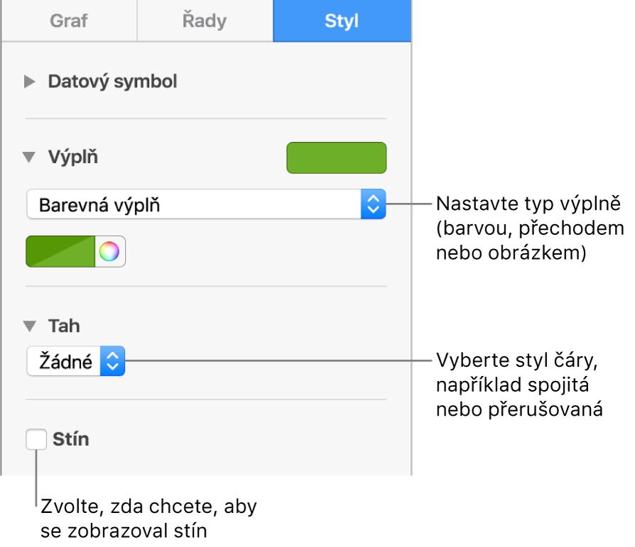 Ovládací prvky pro úpravu vzhledu datových řad