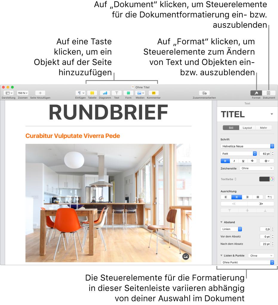 Das Pages-Fenster mit Tasten zum Hinzufügen von Objekten und zum Öffnen von Seitenleisten