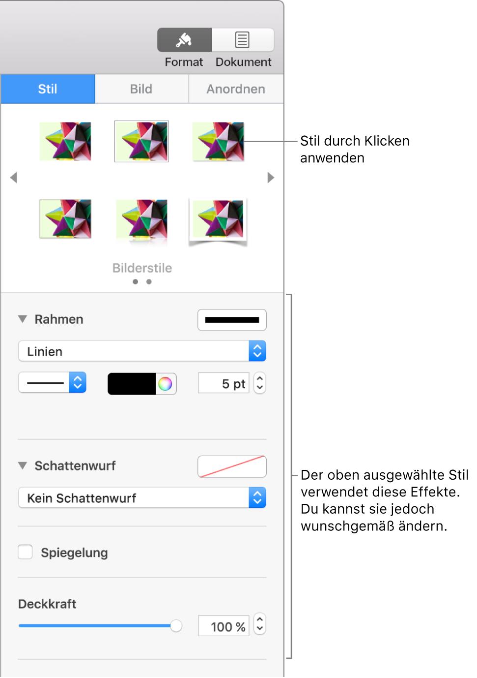 """Der Tab """"Stil"""" der Seitenleiste """"Format"""" mit Optionen für Objektstile"""