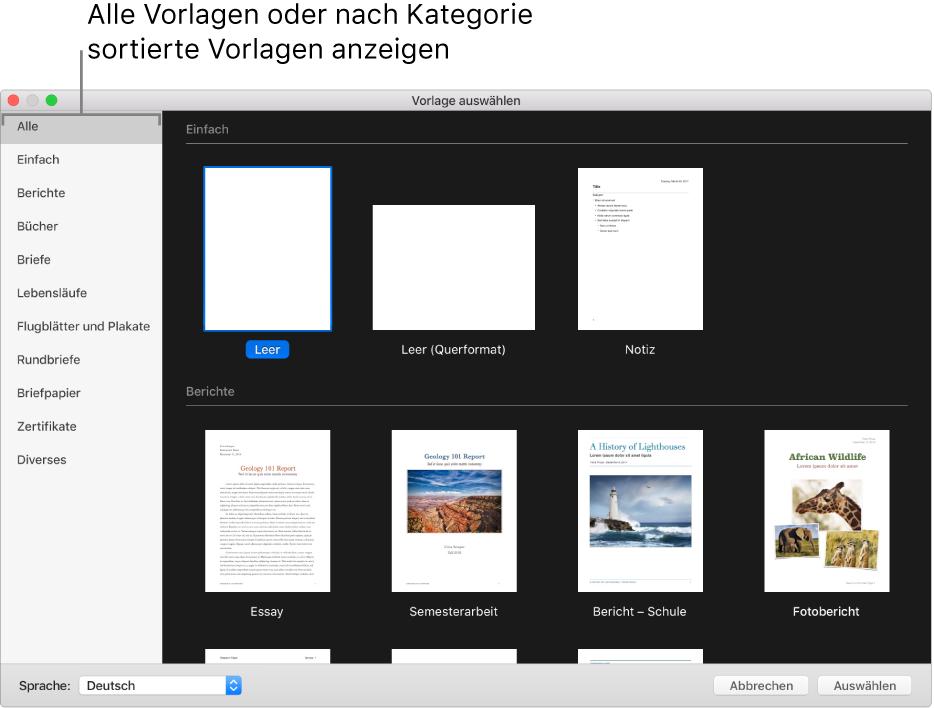 Verwenden Von Vorlagen In Pages Auf Dem Mac Apple Support