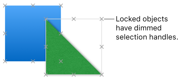 Locked objects with dimmed selection handles.