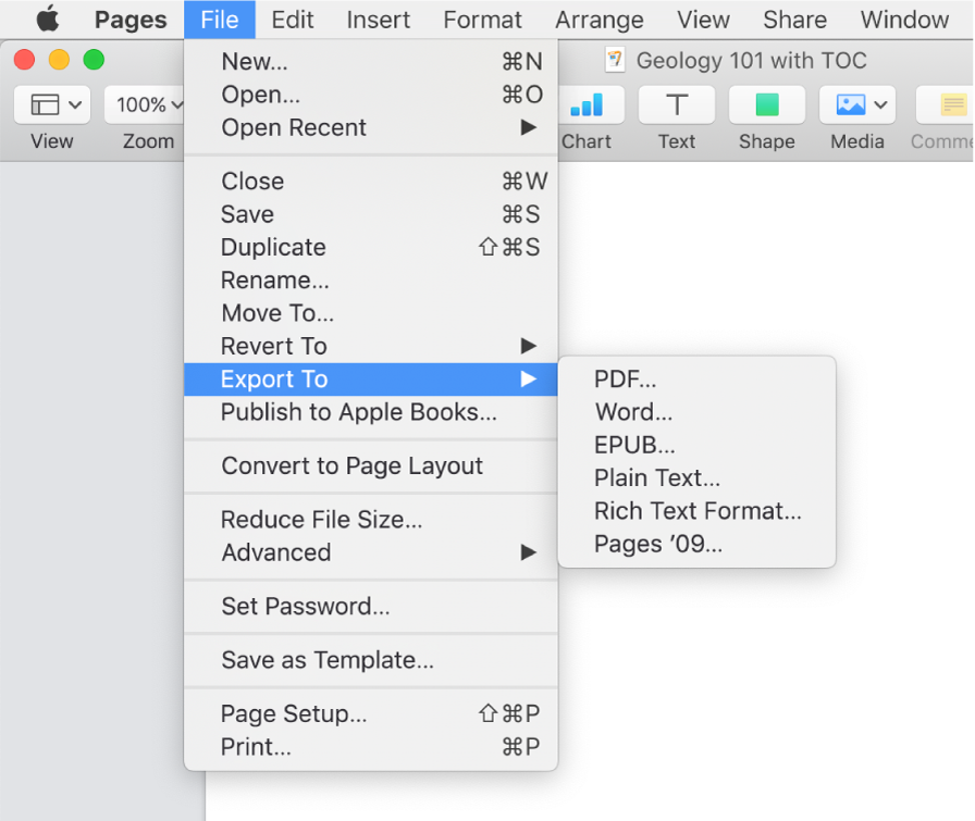 The File menu open with Export To selected, with its submenu showing export options for PDF, Word, Plain Text, Rich Text Format, EPUB and Pages '09.