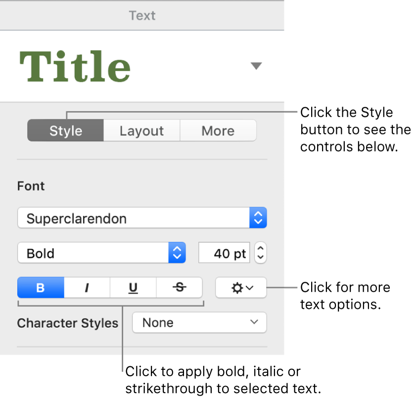 The Style controls in the Format sidebar with callouts to the Bold, Italic, Underline and Strikethrough buttons.