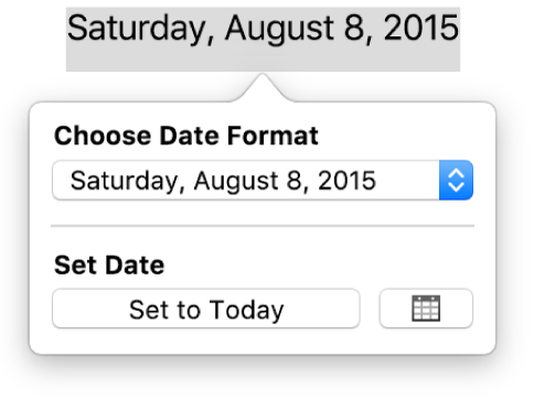 The Date & Time pop-over showing a pop-up menu for date format and a Set to Today button.