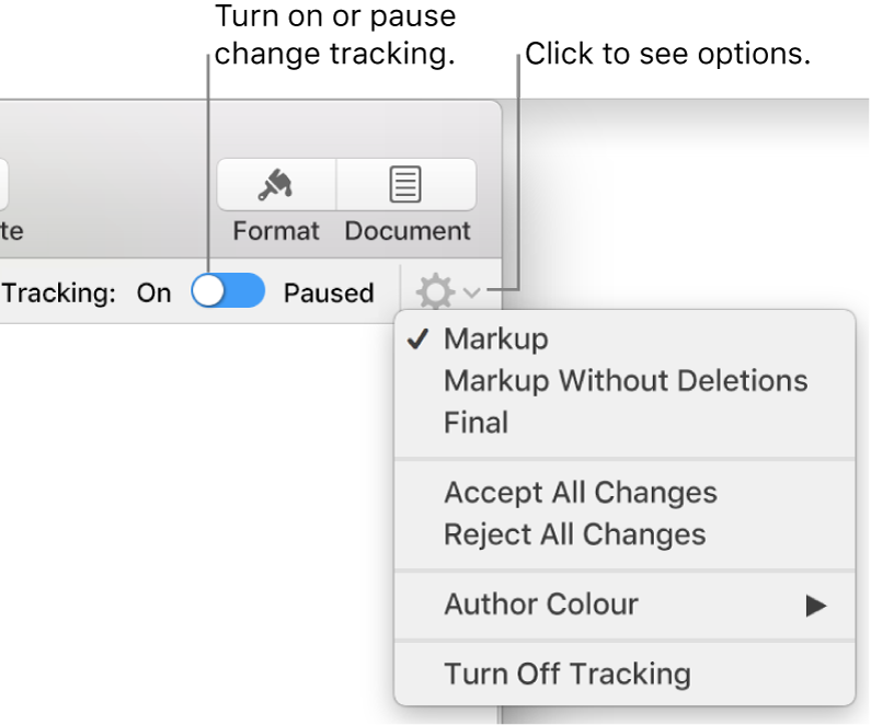 The tracking options menu showing Turn off Tracking at the bottom and callouts to the Tracking On and Paused button.