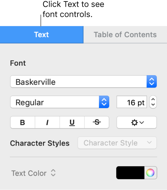 The Format sidebar with the Text tab selected and font controls for changing the font, font size, and adding character styles.