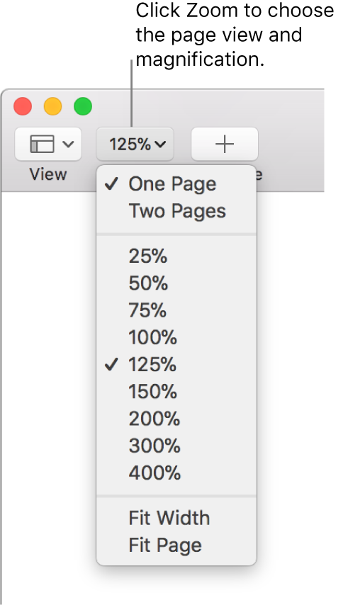 The Zoom pop-up menu with options to view one page and two pages at the top, percentages ranging from 25% through 400% below, and Fit Width and Fit Page at the bottom.