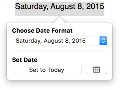 The Date & Time popover showing a pop-up menu for date format and a Set to Today button.