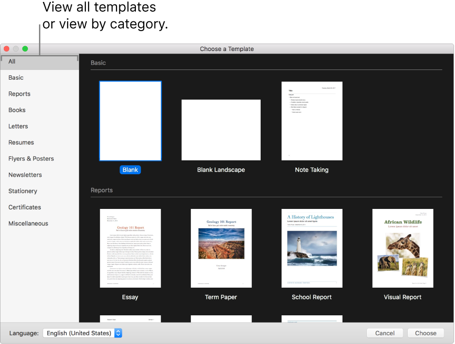 The template chooser. On the right are thumbnails of predesigned templates you can use to begin creating documents. A sidebar on the left lists template categories you can click to filter options.