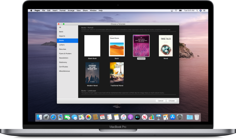 A MacBook Pro with the Pages template chooser open on the screen. The Books category is selected on the left and book templates appear on the right.