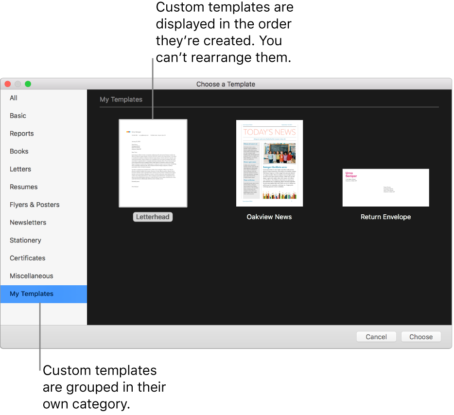 The template chooser with My Templates as a category on the left. Custom templates are displayed in the order they are created and can't be rearranged.