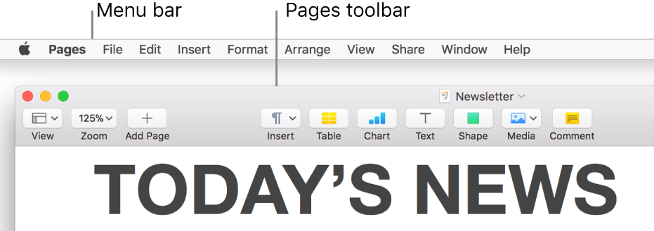 The menu bar at the top of the screen with Apple, Pages, File, Edit, Insert, Format, Arrange, View, Share, Window, and Help menus. Below the menu bar is an open Pages document with toolbar buttons across the top for View, Zoom, Add Page, Insert, Table, Chart, Text, Shape, Media, and Comment.