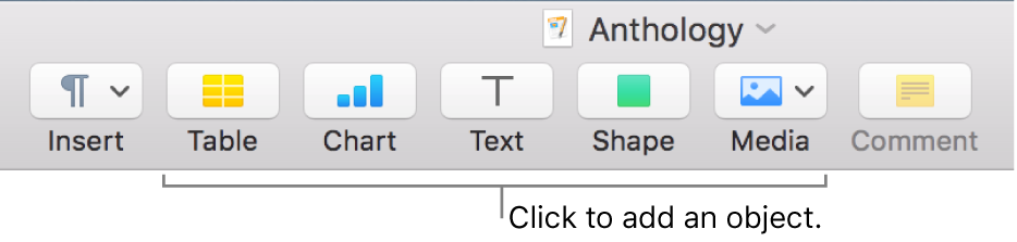 The Pages toolbar with Table, Chart, Text, Shape, and Media buttons.