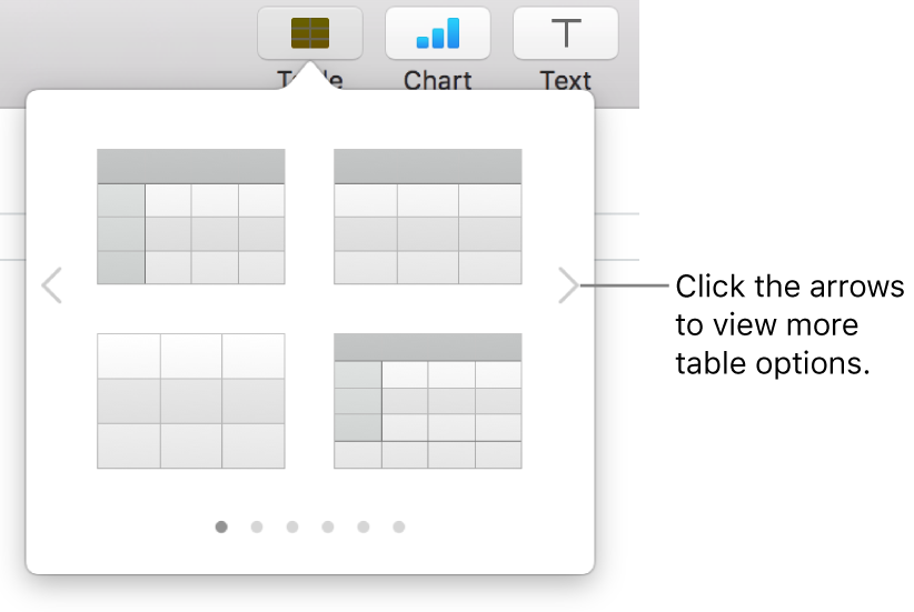 The Add Table menu with navigation arrows.