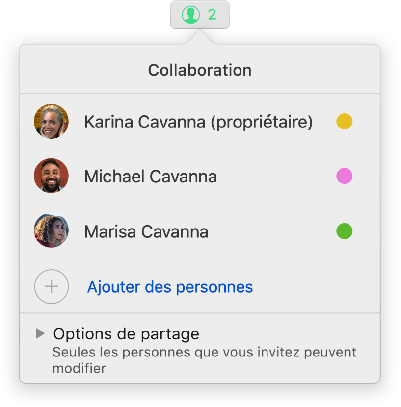 Le menu Collaboration affichant le nom des personnes qui collaborent sur le document. Les options de partage se trouvent sous les noms.