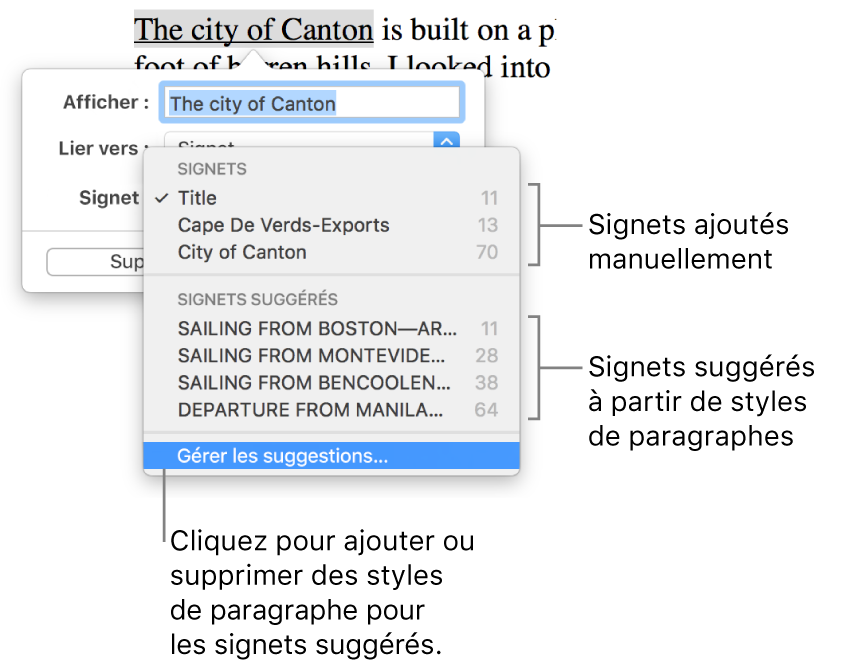 Liste de signets, avec les signets manuellement ajoutés en haut et les signets suggérés en dessous. L'option Gérer les suggestions s'affiche en bas.