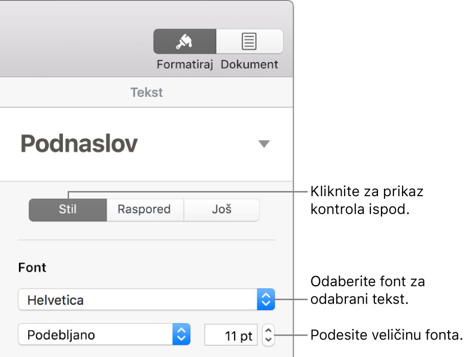 Kontrole teksta u odjeljku Stil rubnog stupca Format za namještanje fonta i veličine fonta.