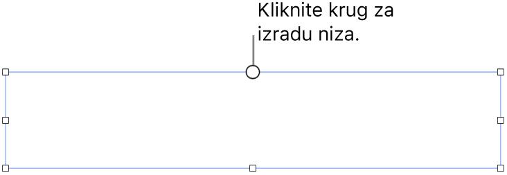 Prazni tekstualni okvir s bijelim krugom na vrhu i hvatišta za promjenu veličine na kutovima, stranama i dnu.