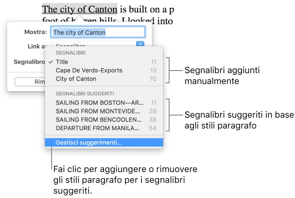 """L'elenco dei segnalibri con i segnalibri aggiunti manualmente nella parte superiore e, sotto, i segnalibri suggeriti. In basso è visibile l'opzione """"Gestisci suggerimenti""""."""
