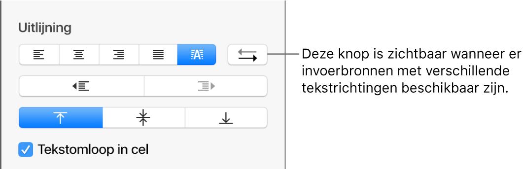 De knop voor de alinearichting naast alinea-uitlijnknoppen.
