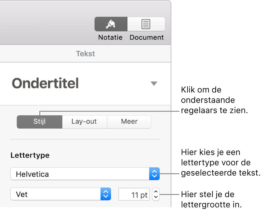 Tekstregelaars in het gedeelte 'Stijl' van de navigatiekolom 'Opmaak' voor het instellen van het lettertype en de lettergrootte.