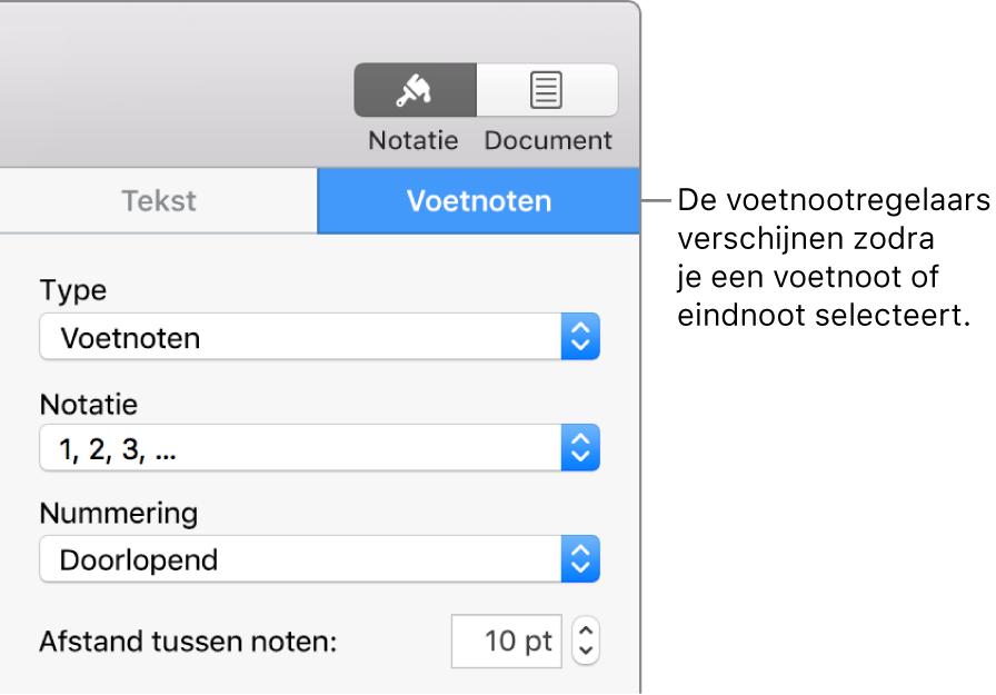 Het paneel 'Voetnoten' met venstermenu's voor type, opmaak, nummering en ruimte tussen voetnoten.
