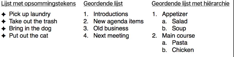 Voorbeelden van lijsten met opsommingstekens, geordende lijsten en lijsten met een hiërarchie.