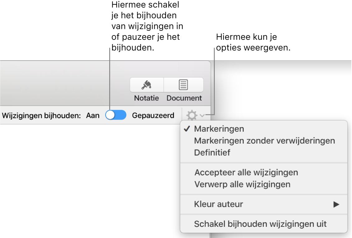 Het menu om wijzigingen bij te houden met optie 'Schakel bijhouden wijzigingen uit' onderin en met uitleg bij de knoppen 'Aan' en 'Gepauzeerd'.