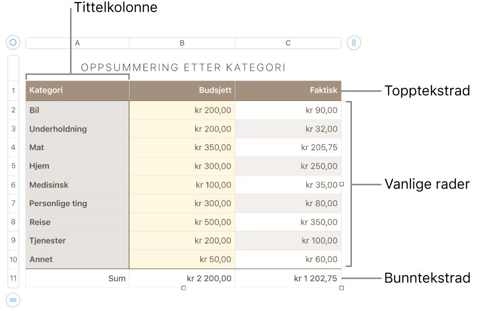 En tabell som viser tittelrader og -kolonner, vanlige rader og kolonner og bunnrader og -kolonner.