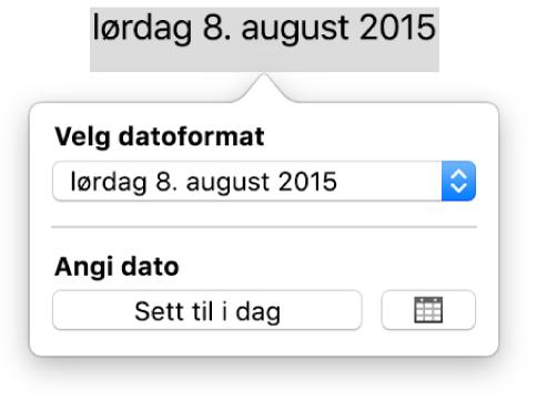 Dato og tid-vinduspanelet, med en lokalmeny for datoformat og knappen Sett til i dag.