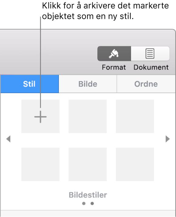 Stil-fanen i Format-sidepanelet med Opprett stil-knappen oppe til venstre og fem tomme stilplassholdere.
