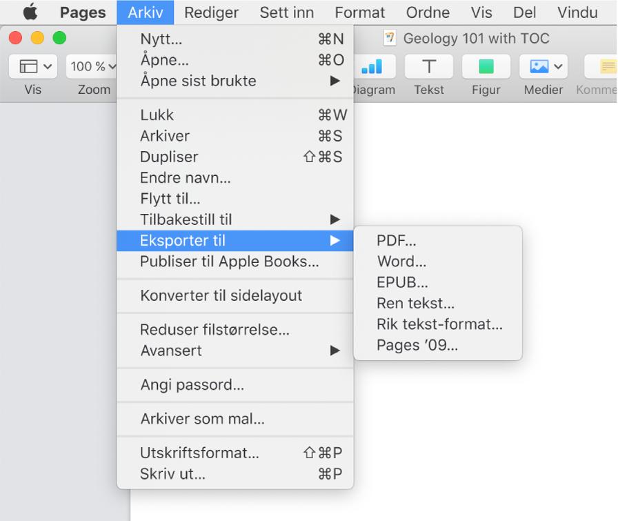 Arkiv-menyen åpen med Eksporter til markert, med undermenyen som viser eksportvalg for PDF, Word, ren tekst, rikt tekstformat, EPUB og Pages '09