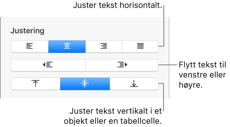Justering-delen i formatinspektøren, med knapper for justering av tekst horisontalt og vertikalt og knapper for å flytte tekst til venstre eller høyre.