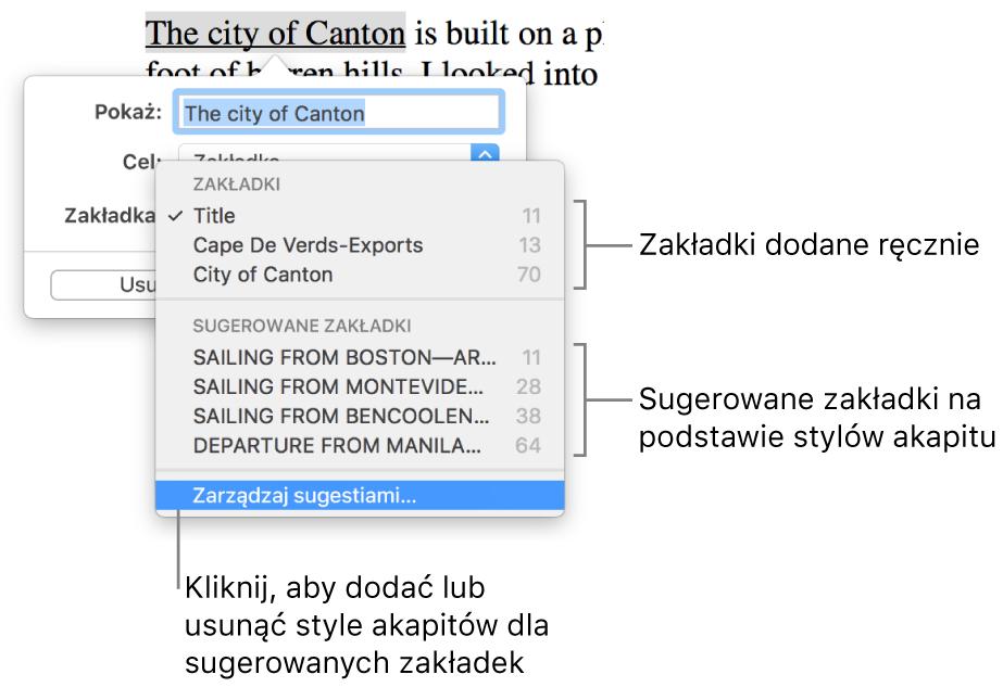 Lista zakładek rozpoczynająca się od zakładek dodanych ręcznie, poniżej których widoczne są sugerowane zakładki. Na dole znajduje się przycisk Zarządzaj sugestiami.