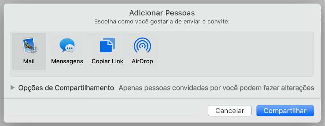 Janela dos ajustes de colaboração com o botão Compartilhar na parte inferior.