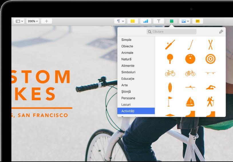 Bara de instrumente cu butoane pentru adăugarea de tabele, diagrame, casete de text, forme și multimedia. Este selectată opțiunea Forme și afișează categoria Activități selectată în bara laterală din stânga și formele în dreapta.