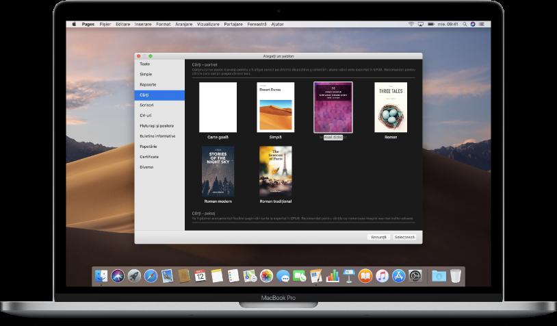 Un MacBook Pro cu selectorul de șabloane Pages deschis pe ecran. Este selectată categoria Cărți în partea stângă și șabloanele de cărți apar în dreapta.