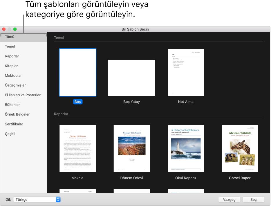 Şablon seçici. Sağ tarafta, belgeler oluşturmak için kullanabileceğiniz önceden tasarlanmış şablonların küçük resimlerini göreceksiniz. Soldaki bir kenar çubuğu ise seçenekleri filtrelemek için tıklayabileceğiniz şablon kategorilerini listeler.