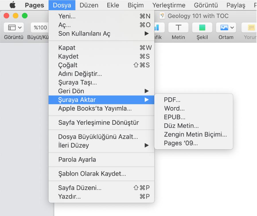 Şuraya Aktar seçili olarak ve alt menüsünde PDF, Word, Düz Metin, Zengin Metin Biçimi, EPUB ve Pages '09 için dışa aktarma seçeneklerinin gösterildiği açık Dosya menüsü.