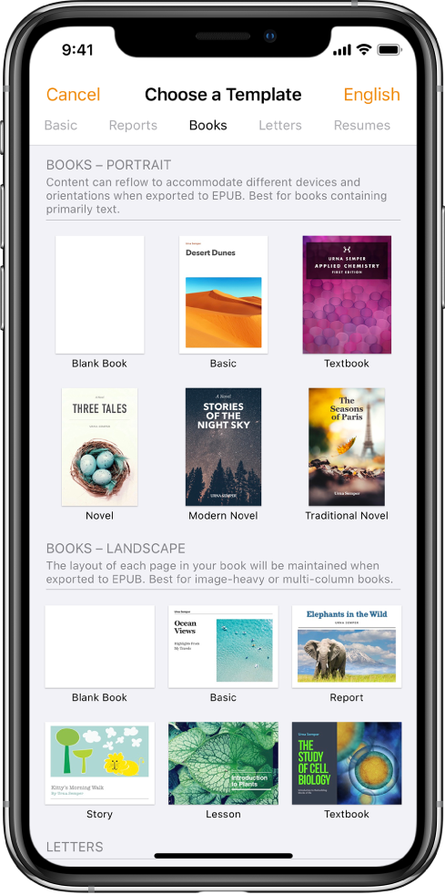 The template chooser with categories across the top. Books is selected and book templates in portrait and landscape orientation appear below.