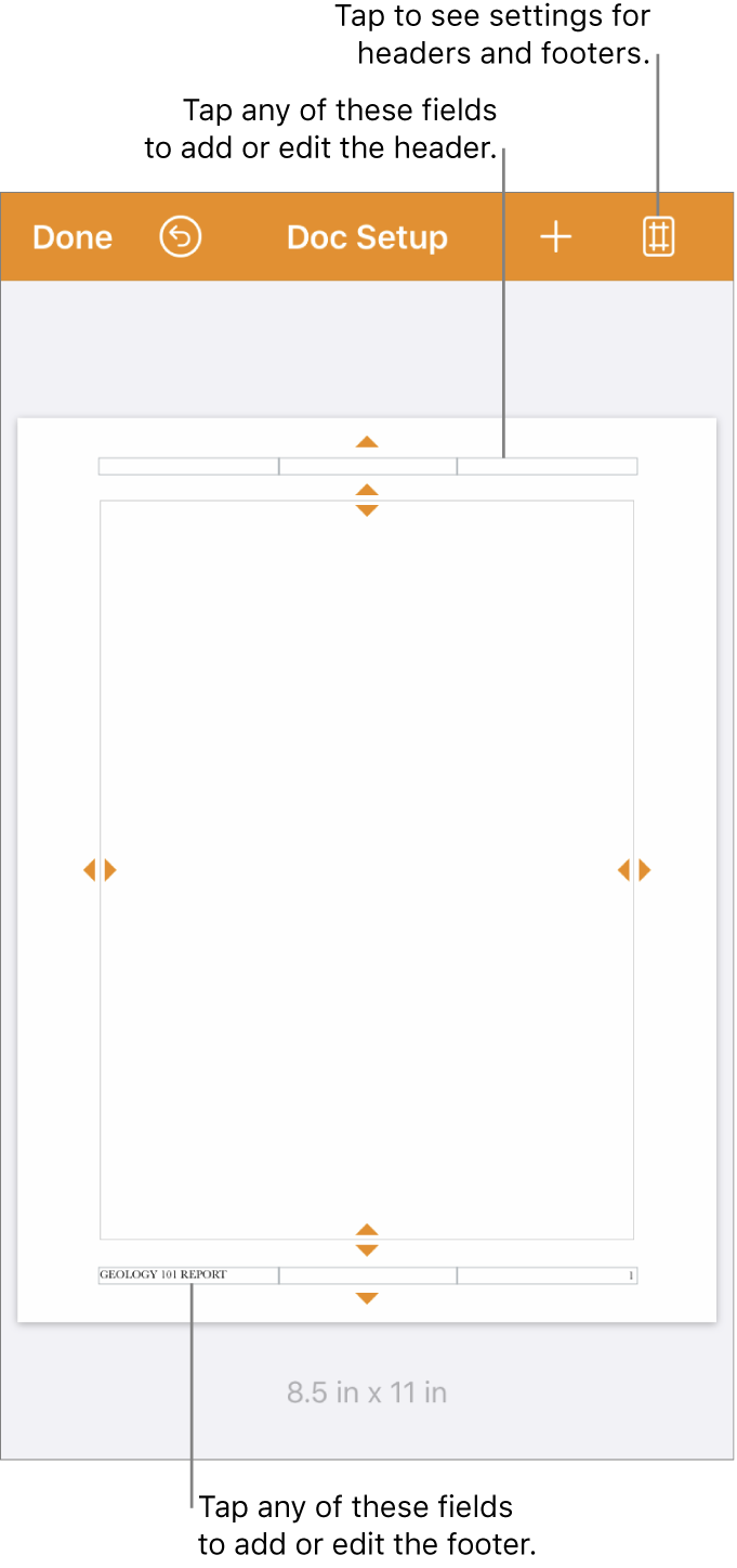 Document setup view with three fields at the top and bottom of the document.