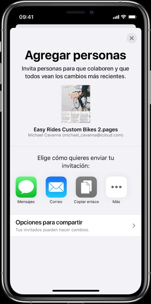 """La pantalla """"Agregar personas"""" mostrando una imagen del documento que se va a compartir. Debajo hay botones con las maneras en que se puede enviar la invitación; incluyendo Mensajes, Correo, """"Copiar enlace"""" y más. En la parte inferior se encuentra el botón """"Opciones para compartir""""."""