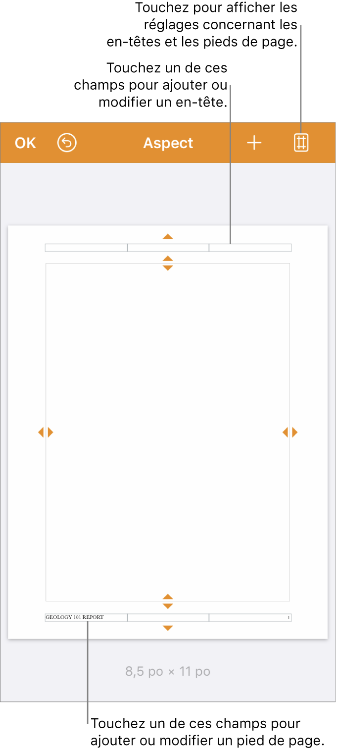 Présentation Mise en page avec trois champs en haut et en bas du document.