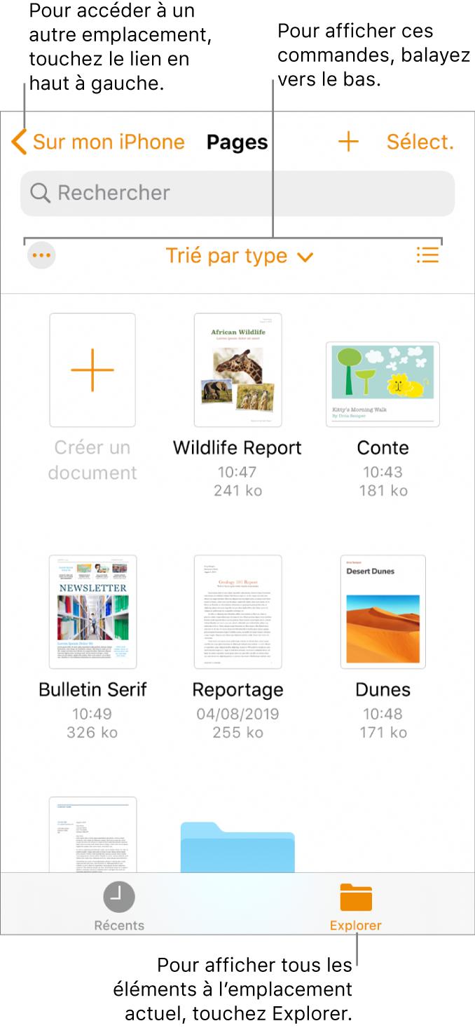 La présentation de navigation du gestionnaire de documents avec un lien d'emplacement dans le coin supérieur gauche et un champ de recherche en dessous de celui-ci. Dans le rang situé en dessous du champ de recherche se trouvent le bouton Plus, un menu local permettant de filtrer par nom, par date, par taille, par type et par tag, ainsi que le bouton de présentation par liste ou par icône. En dessous de ce rang se trouvent le boutonCréer un document et les vignettes de documents existants. En bas de l'écran se trouvent les boutonsRécents et Parcourir.