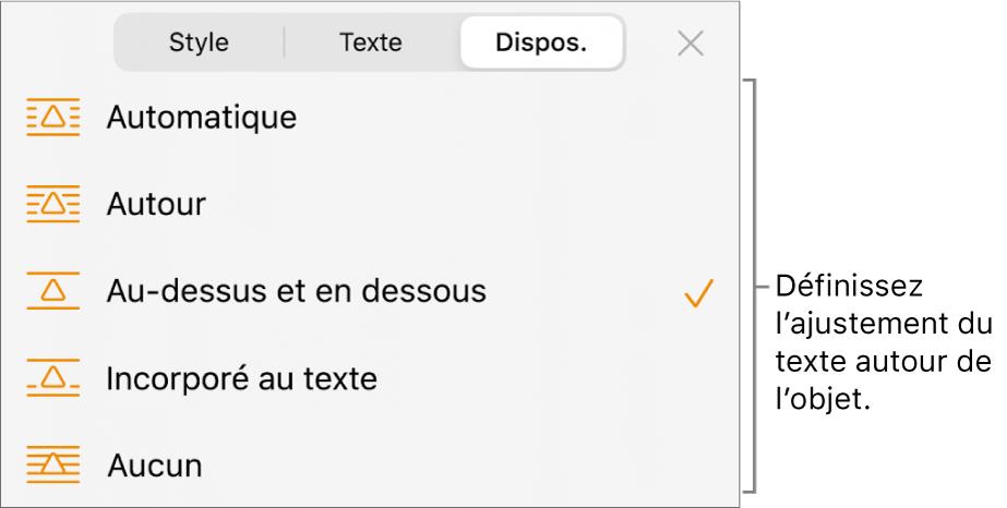 Commandes Disposition avec des réglages pour Automatique, Autour, Au-dessus et en dessous, Incorporé au texte et Aucun.