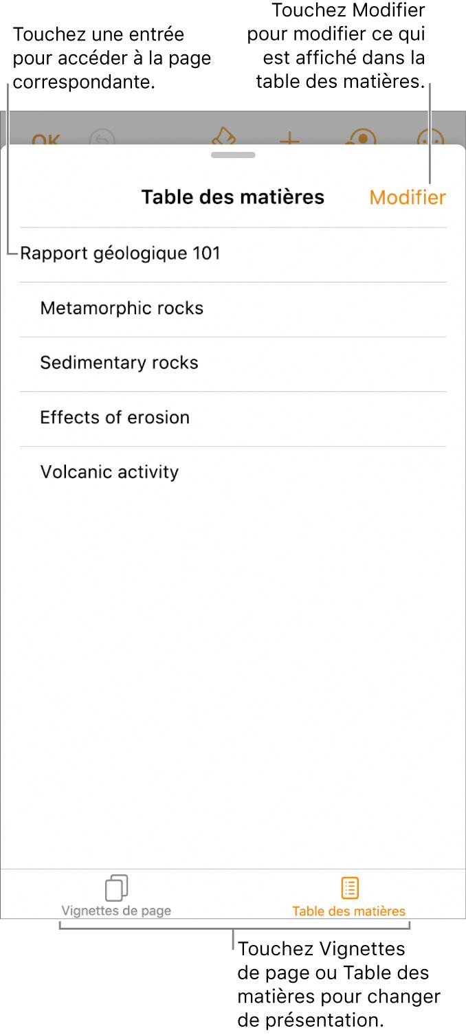 La présentation de la table des matières avec des titres dans une liste. Un bouton Modifier se trouve dans le coin supérieur droit, et les boutons Table des matières et Vignettes de page sont au bas de l'écran.